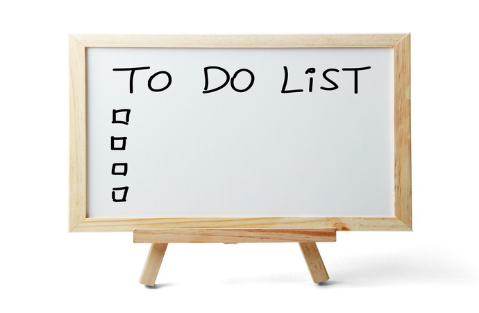 Whiteboard with To Do List is isolated on white background.