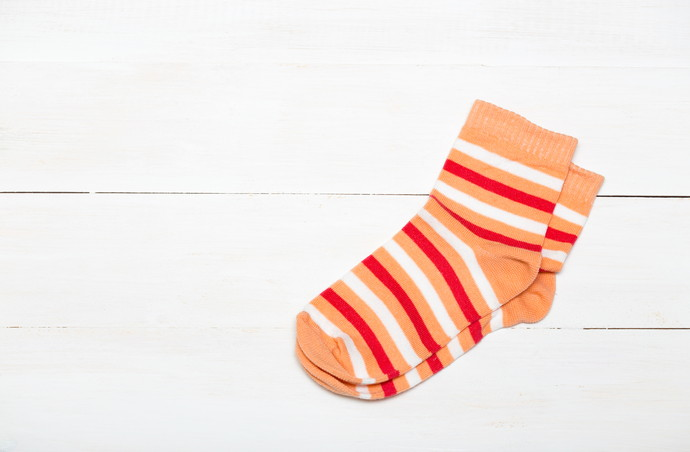 bright new socks on a white background